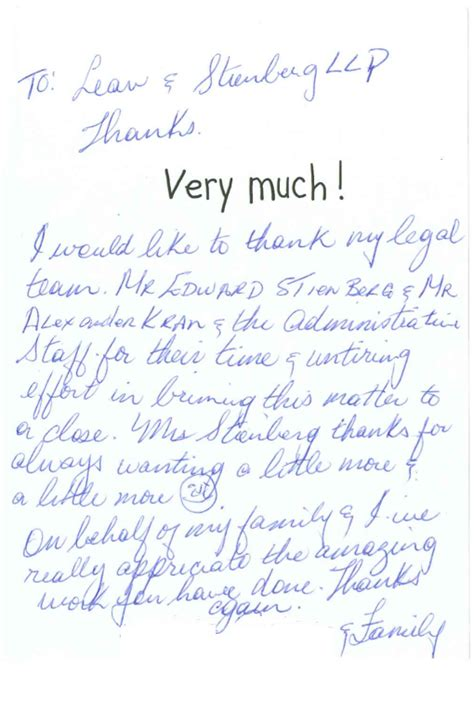 Thank You Letter Lawyer what our clients are saying new york city personal