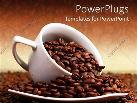 Powerpoint Template A White Cup Overloaded With Roasted Coffee Beans 7547 Coffee Powerpoint Template