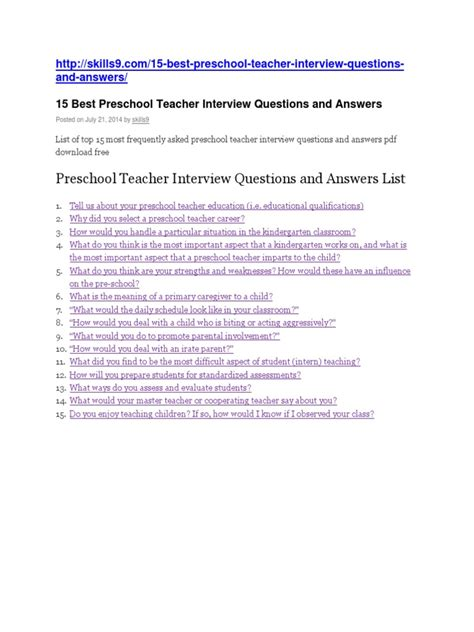 preschool questions and answers