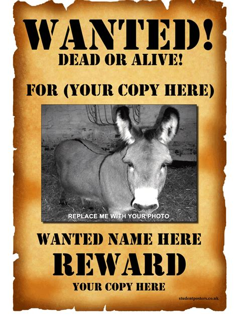 free wanted poster template for wanted poster template 1 positively printable