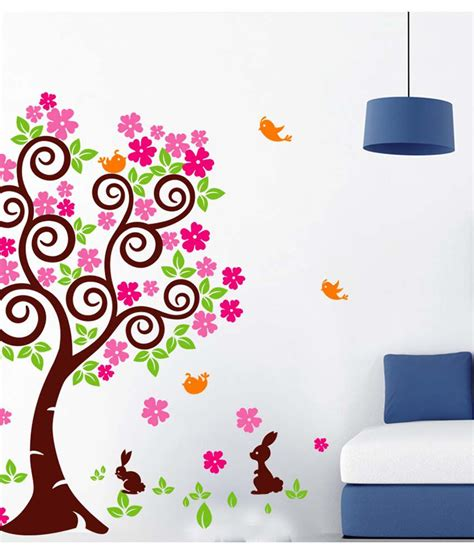 Wallsticker Wall Sticker 60x90 Ay894 Tree stickerskart multicolor floral tree with falling pink flowers and rabbits and birds wall