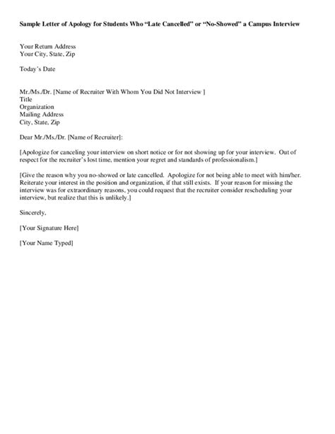Apology Letter To For Late Of Project Sle Letter Of Apology For Students Free