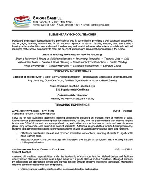 exle of a teachers resume elementary school resume exle sle