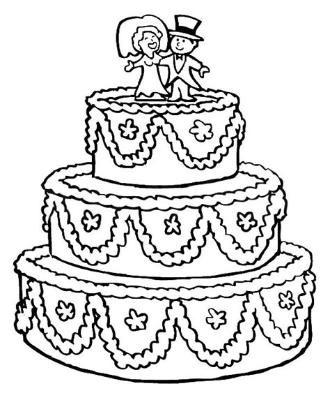 beautifully decorated wedding cake coloring pages best