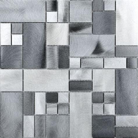 metallic mosaic tile backsplash metal metallic gray aluminum mosaic kitchen backsplash