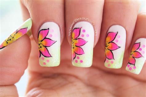 flores pintadad en las uas decoraci 243 n de u 241 as flores faciles easy flower nail art