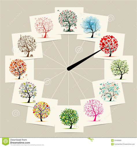 Christmas Plant Decoration 12 Months With Art Trees Watches Concept Design Royalty