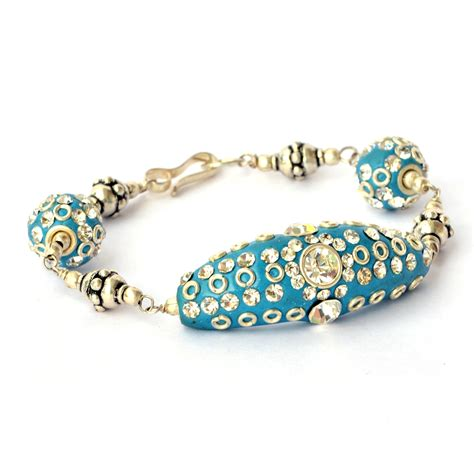 beaded bangles handmade handmade bracelet blue with white rhinestones