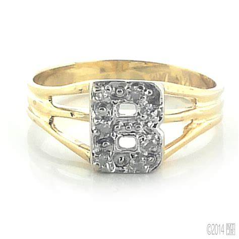 14kt white and yellow gold initial ring more