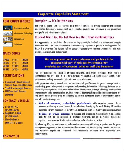 8 Capability Statement Exles Sles Financial Capability Statement Template