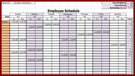 printable employee schedule template free weekly employee schedule template excel