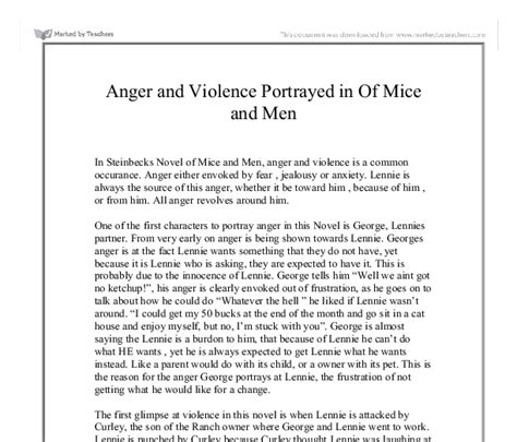 Mice Of Essay by Anger And Violence Portrayed In Of Mice And Gcse Marked By Teachers