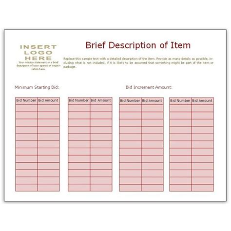 silent auction bid sheets microsoft search results new