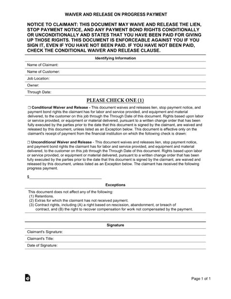 Free Real Estate Lien Release Forms Pdf Eforms Free Fillable Forms Lien Release Template