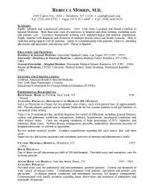 Resume For Doctors by Curriculum Vitae Sles For Doctors