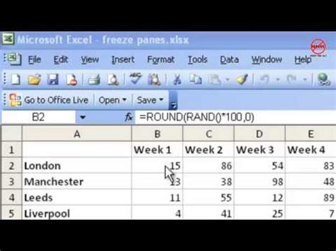 tutorial excel freeze panes excel tutorial how to freeze panes and split window youtube