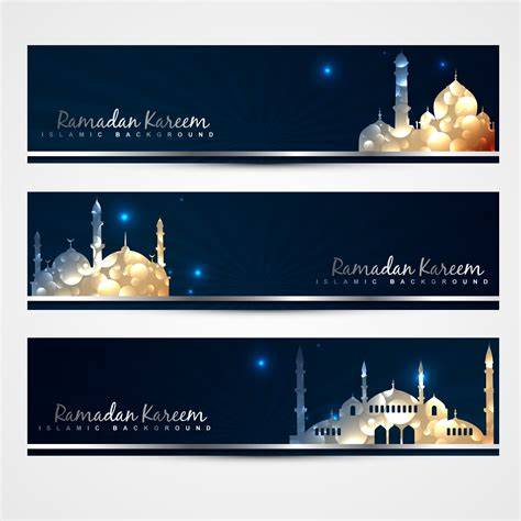 stylish set  ramadan banners   vectors