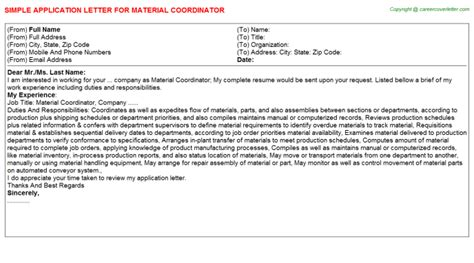 Material Coordinator by Material Coordinator Application Letter