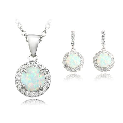 Pretty White 1 Set 5 Item haimis pretty white blue pink opal jewelry sets necklace pendant earring for bridal