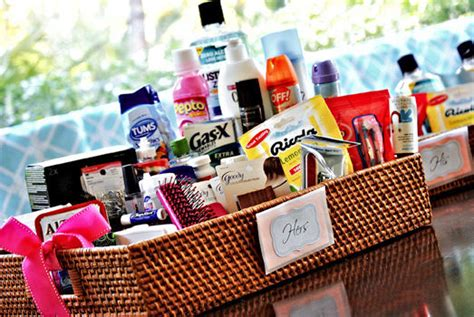 bathroom basket emergency kits for your wedding guests