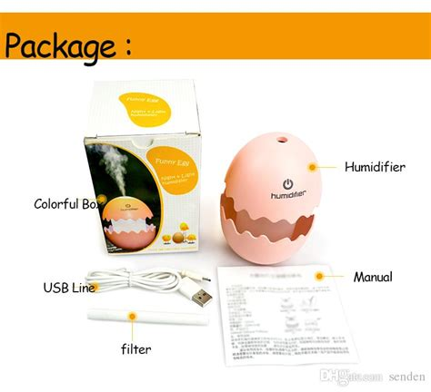 Cracked Egg Humidifier With Light T1310 2 usb mini egg humidifier with colorful light egg tumbler aroma diffuser for car home