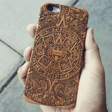 laser engraved mayan aztec calendar on genuine wood phone