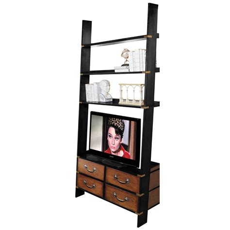 leaning wall shelf and tv stand with four traditional