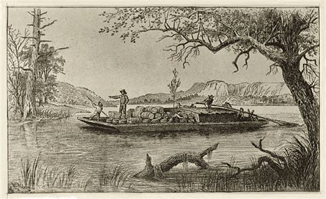 boat in river drawing history of flatboating and a charming educational film a
