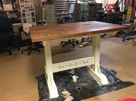counter height trestle table white trestle table at counter height diy projects