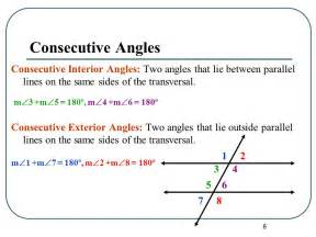 Consecutive Interior Angle by Angles And Parallel Lines Ppt