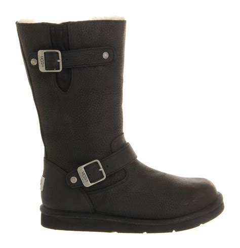 ugg boots black ugg kensington biker boot in black lyst