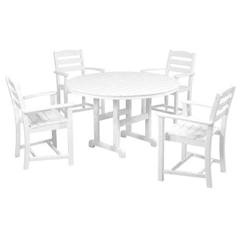 White Patio Dining Sets Polywood La Casa Cafe White 5 Patio Dining Set Pws132 1 Wh The Home Depot