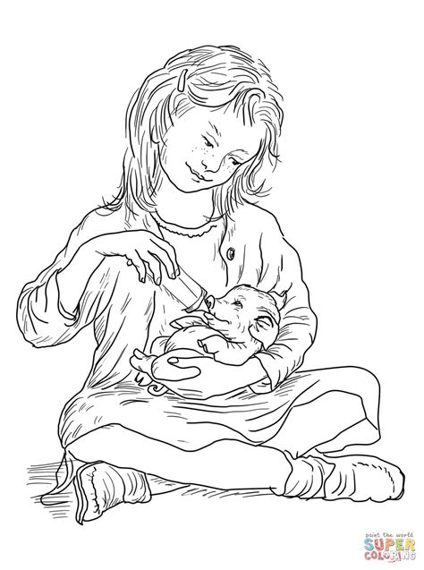 fern feeding wilbur coloring page free printable