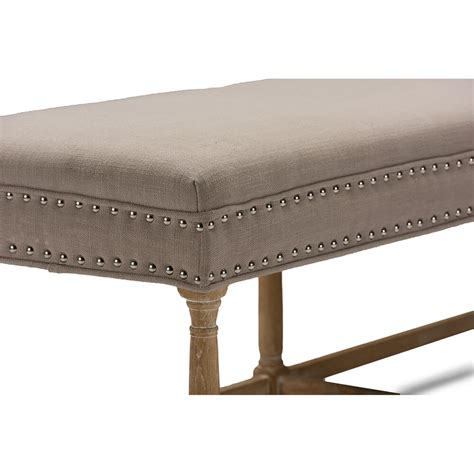fabric bench hester taupe fabric bench modern furniture brickell