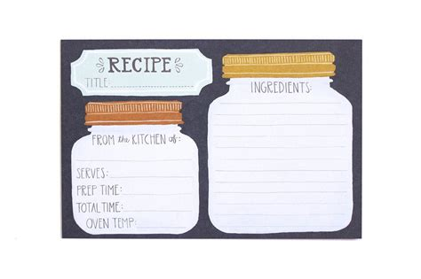 jar recipes recipe card template jar recipe cards 1canoe2