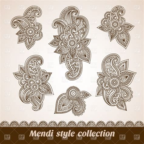 oriental designs set of six floral oriental design elements vector image