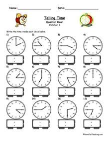 telling time worksheet to the quarter hour have fun