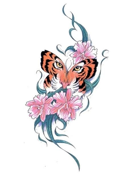 tai chi tattoo designs three pink flowers with tiger butterfly jpg 480