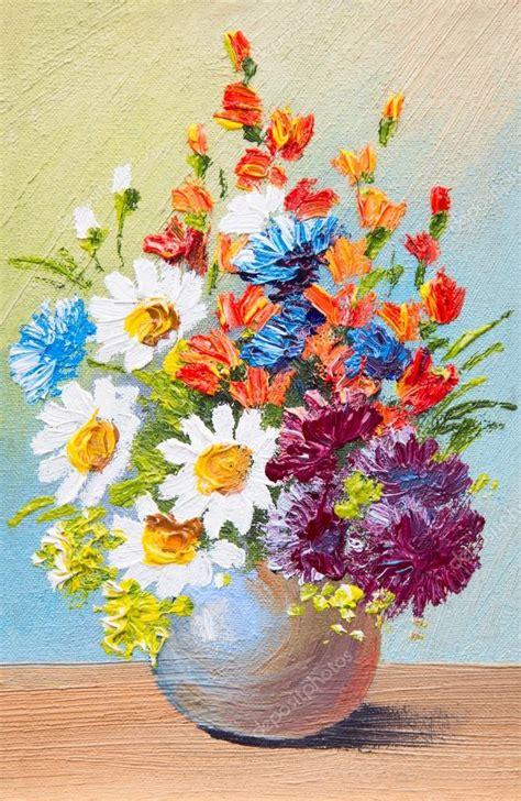 Flower Vase Stand Rysunek Kwiaty W Wazonie Olej Akwarela Malarstwo
