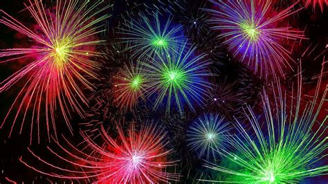 happy  year   years fireworks red blue yellow  green color hd wallpaper