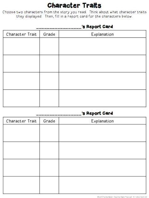 character trait report card template 17 best images about teaching elementary on