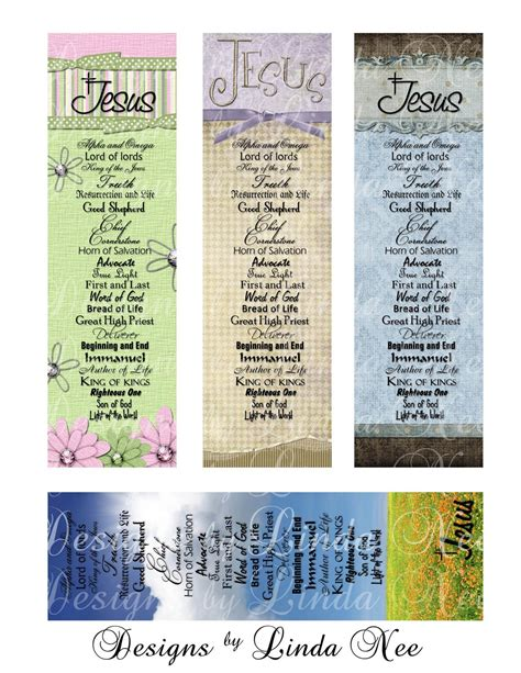 bible bookmark template names of jesus christian bookmarks digital collage sheet jesus