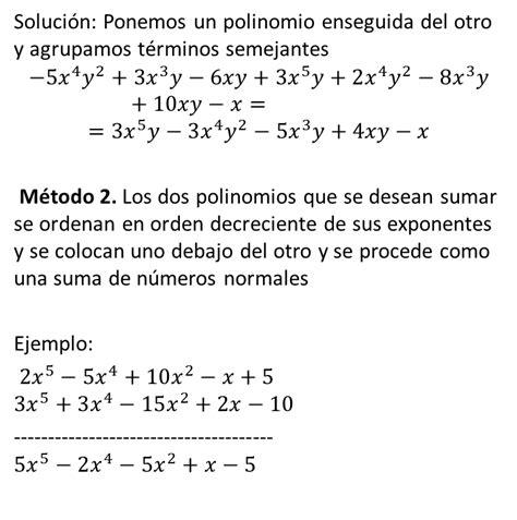 suma y resta de polinomios multiplicacin de polinomios y divisin matem 225 ticas 1 sesi 243 n 10 polinomios definici 243 n suma