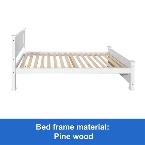 New Wooden King Single Bed Frame White Timber Slats Pine Wood Single Timber Bed Frame