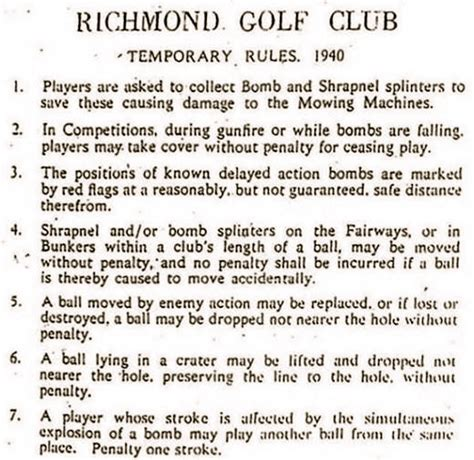 Old golf jokes furthermore richmond golf club temporary rules 1940