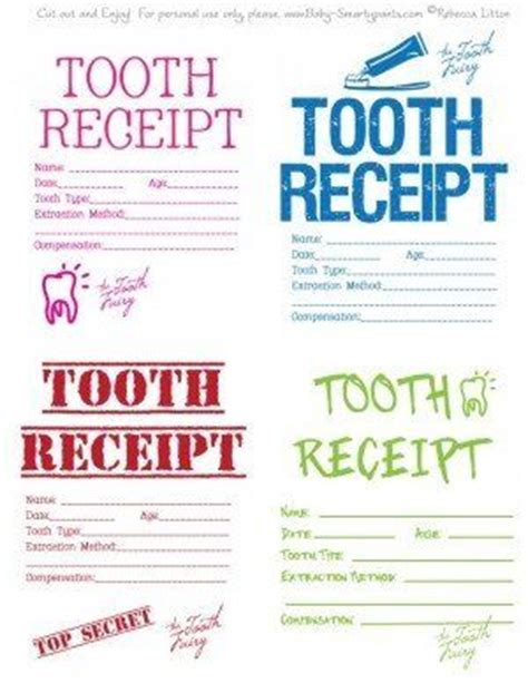 tooth receipt template 18 best images about tooth ideas on