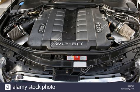 how does a cars engine work 2008 bentley continental flying spur free book repair manuals detail of a motor of an audi w12 6 0 at zagreb auto show in croatia stock photo 19191686 alamy