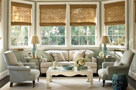 Living Room With White Wood Blinds Would To Bamboo Shades In Our Family Room I