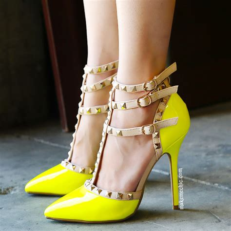 shoes pumps neon yellow heels studs and leather ankle multicolor wheretoget