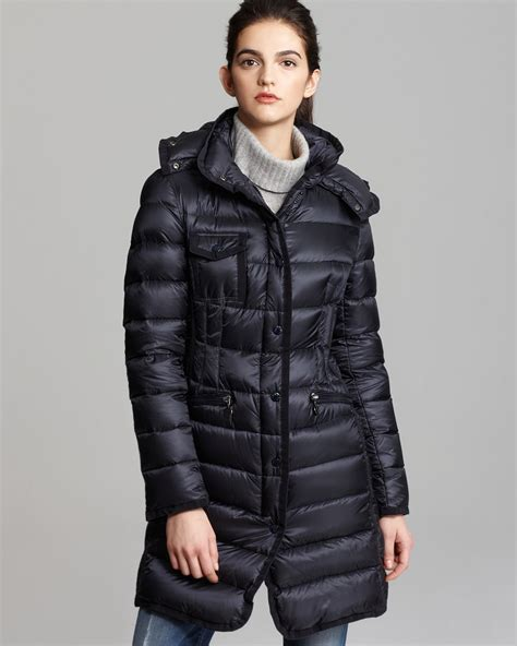 What Is Down In A Duvet Moncler Hermine Collar Down Coat In Blue Lyst